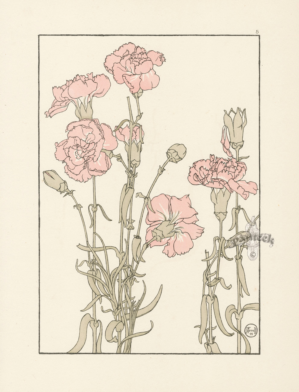 Foord pochoir flower studies 1901 for Pochoir technique