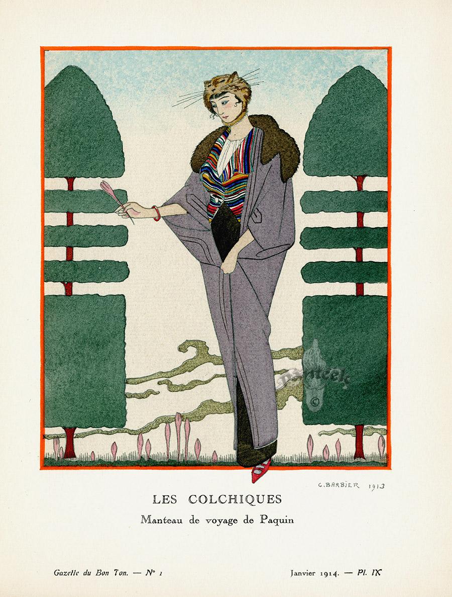 Le Colchiques By George Barbier From Original Bon Ton Gazette Prints By George Barbier 1912 1925