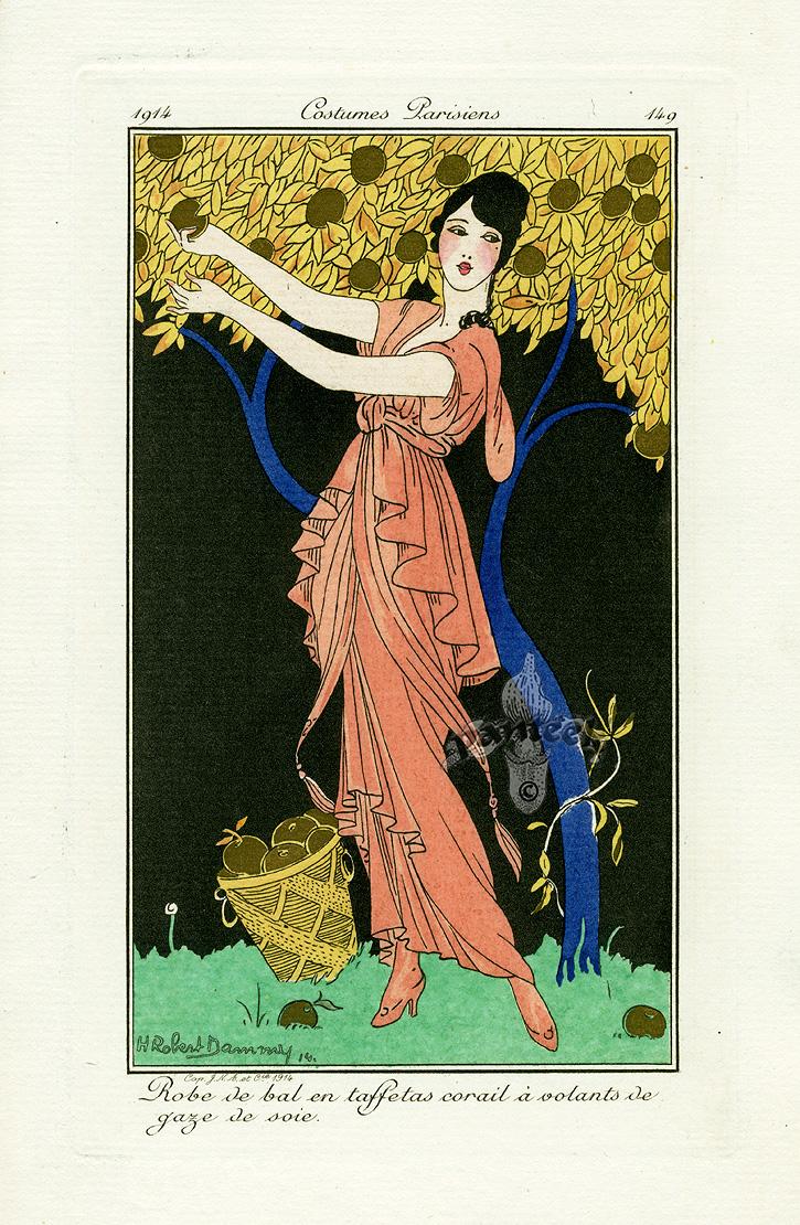 Costumes parisiens deco pochoir prints 1912 for Pochoir deco