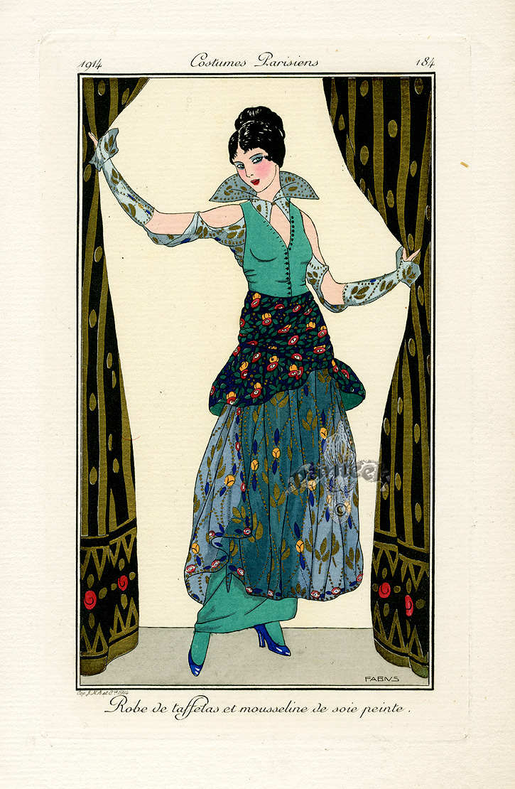 Costumes Parisiens Deco Pochoir Prints 1912