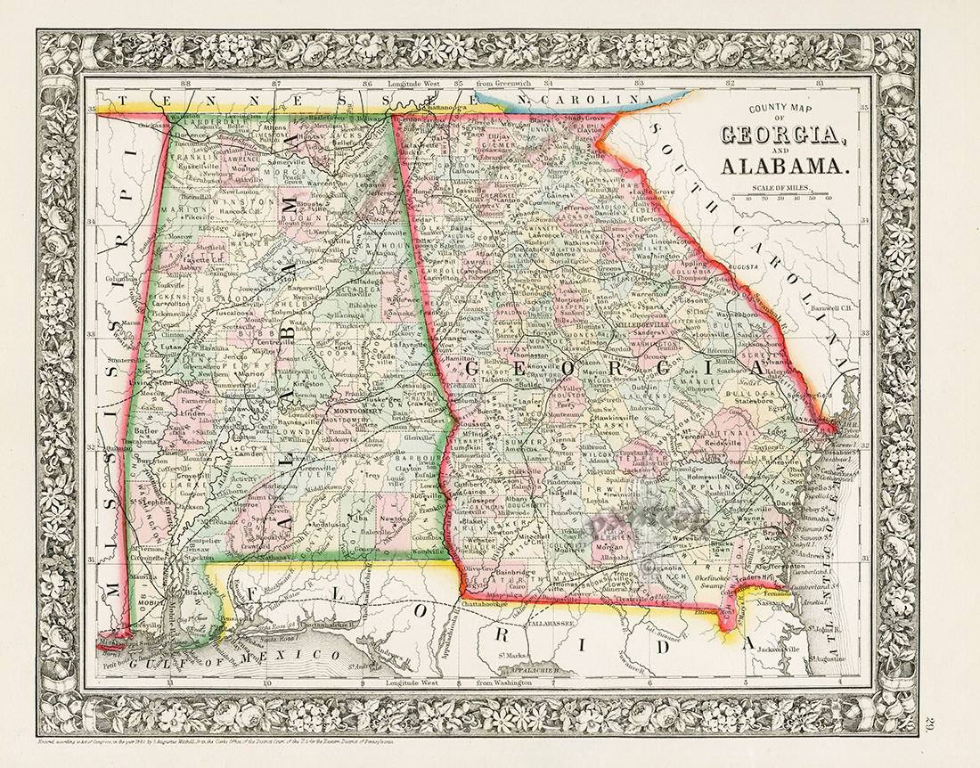 Map Of Georgia 1865.Alabama Georgia From World Maps American State Maps From