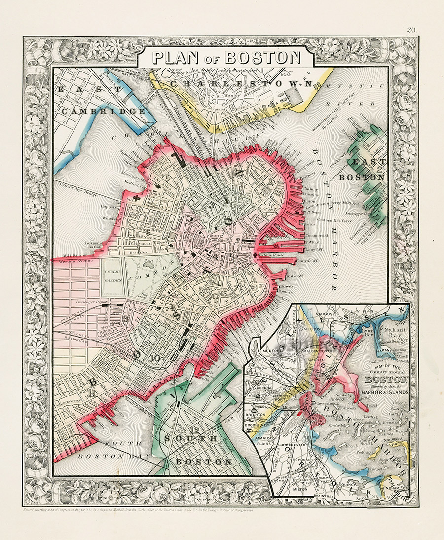 Boston From World Maps American State Maps From Mitchells Atlas - American state maps