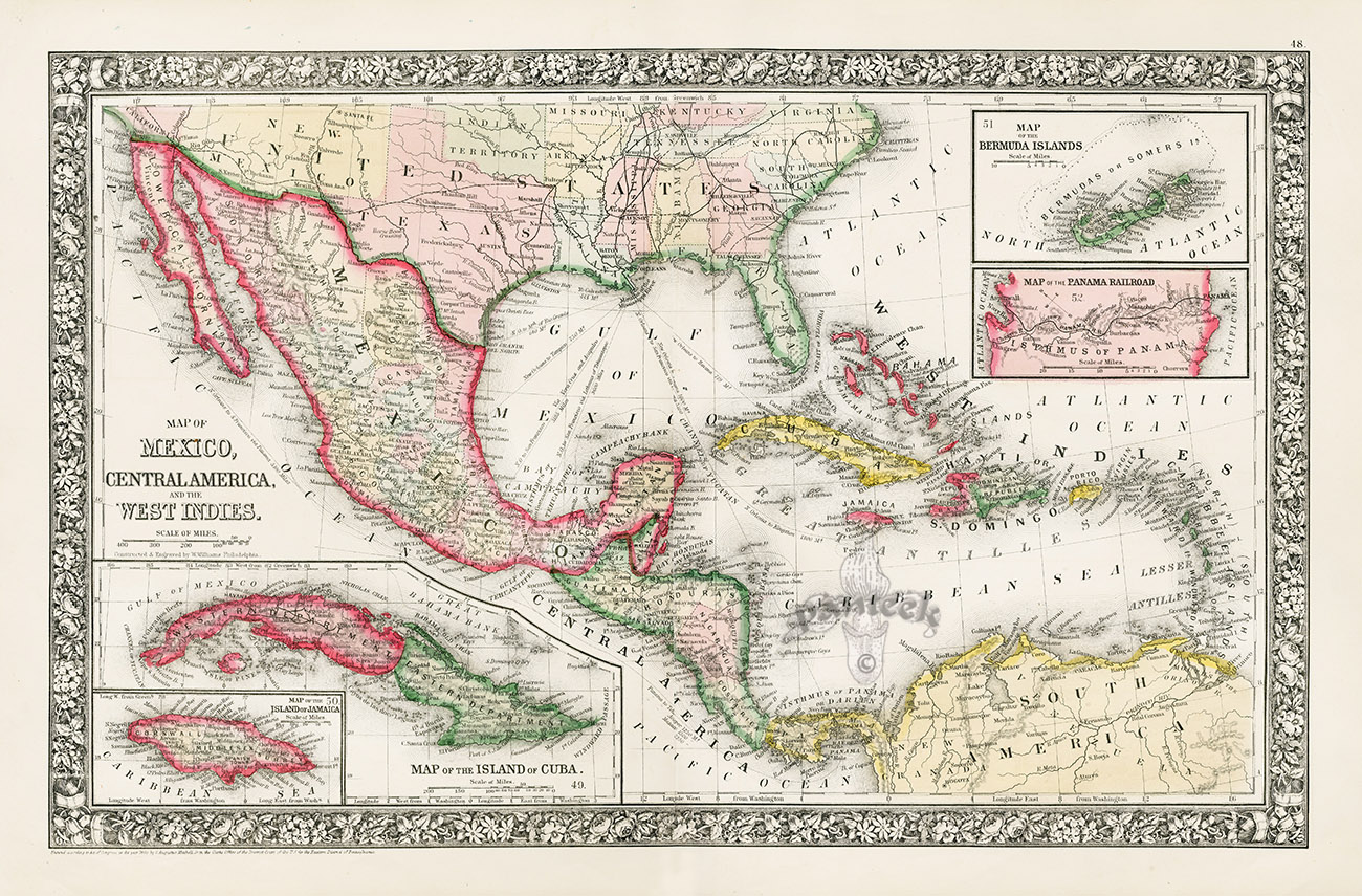 Southern & Golf Staes of US, Mexico, Central America, Caribbean ...